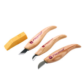 Chip Carving Tool Set, 3 piece with Sharpening Compound