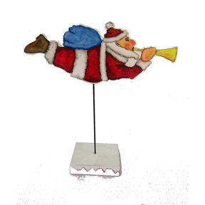 Flying Santa on Pedestal  Woodworking Pattern and Picture