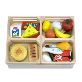 Food Groups - 21 Hand-Painted Wooden Pieces and 4 Crates