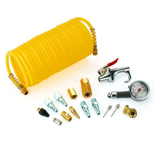 View a Larger Image of 1/4-Inch 16-Piece Pneumatic Coil Hose Accessory Pack