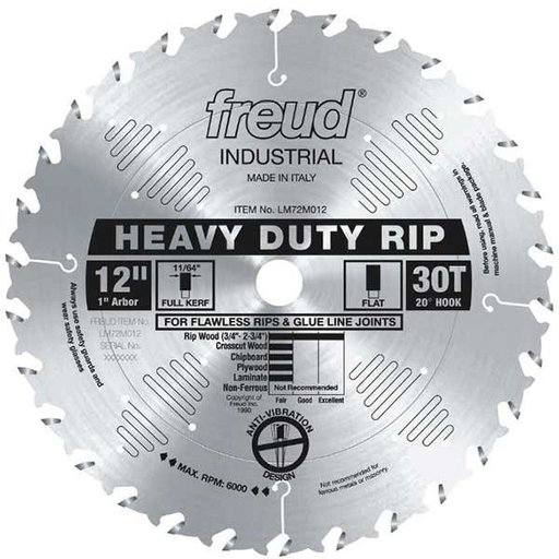 "View a Larger Image of 12"" Full Kerf Heavy Duty Rip Blade"