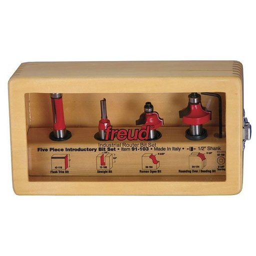 "View a Larger Image of 91-103 Five Piece Introductory Router Router Bit Set 1/2"" Shank"