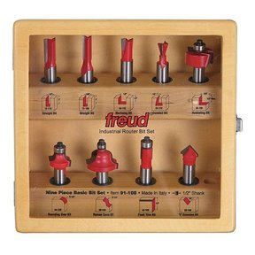 "91-108 Nine Piece Basic Router Router Bit Set 1/2"" Shank"