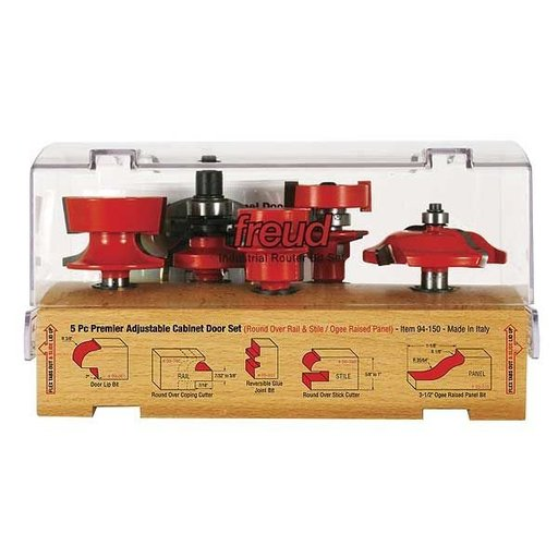 """View a Larger Image of 94-150 Adjustable Rail And Stile 5-Pc Door Router Bit Set Ogee Panel Round Rail 1/2"""" Shank"""