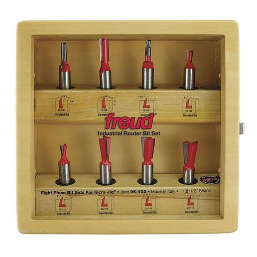 "View a Larger Image of 96-100 Eight Piece Incra Jig Router Router Bit Set 1/4"" Shank"