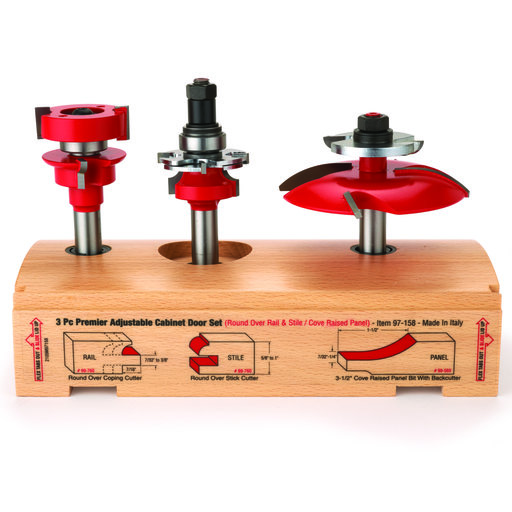 "View a Larger Image of 97-158 Adjustable Rail And Stile 3-Pc Door Router Bit Set Cove Panel W/Bc Round Rail 1/2"" Shank"