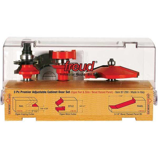 "View a Larger Image of 97-250 Adjustable Rail And Stile 3-Pc Door Router Bit Set Bevel Panel Ogee Rail 1/2"" Shank"