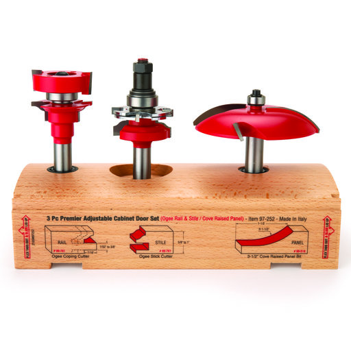 "View a Larger Image of 97-252 Adjustable Rail And Stile 3-Pc Door Router Bit Set Cove Panel Ogee Rail 1/2"" Shank"