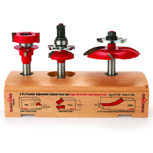 "View a Larger Image of 97-258 Adjustable Rail And Stile 3-Pc Door Router Bit Set Cove Panel W/Bc Ogee Rail 1/2"" Shank"