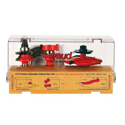 "View a Larger Image of 97-260 Adjustable Rail And Stile 3-Pc Door Router Bit Set Ogee Panel W/Bc Ogee Rail 1/2"" Shank"