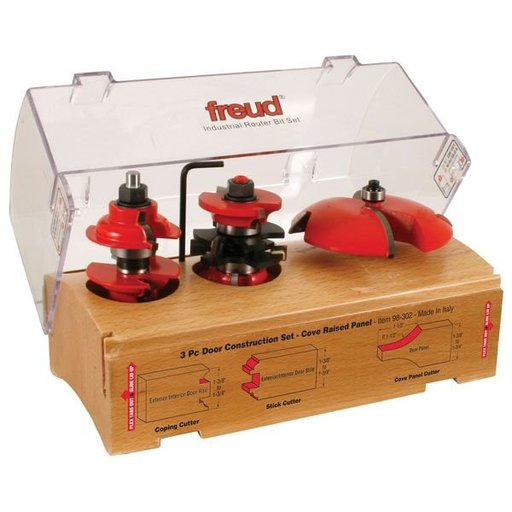 "View a Larger Image of 98-302 Three Piece Door Construction Router Router Bit Set Cove 1/2"" Shank"