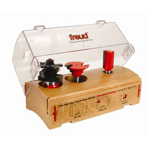 View a Larger Image of 98-307 Three Piece Full Lite French Door Router Router Bit Set Roundover