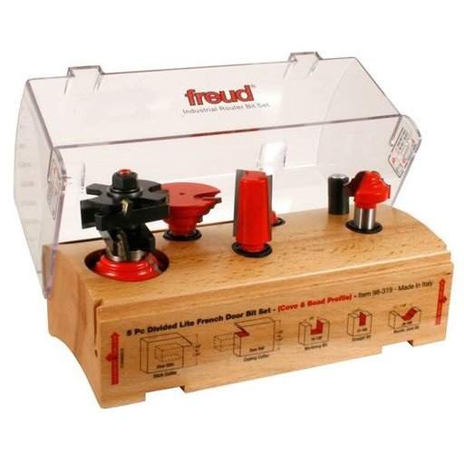 View a Larger Image of 98-319 Five Piece French Door Router Router Bit Set Cove/Bead