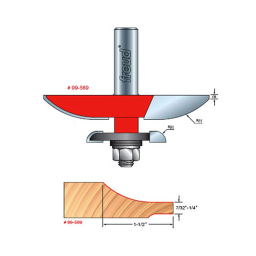 "View a Larger Image of 99-569 Quadra-Cut Large Raised Panel with Back-Cutter Router Bit Cove Pattern 1/2"" SH"