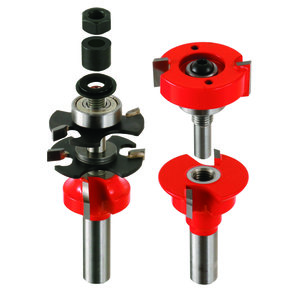"Adjustable Tenon 2-Piece Rail And Stile Router Bit Set Round Profile 1/2"" Shank"