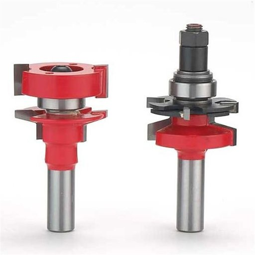 "View a Larger Image of 99-764 Adjustable Tenon 2-Piece Rail And Stile Router Router Bit Set Bevel Profile 1/2"" Shank"