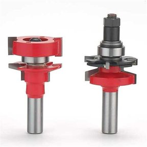 "99-764 Adjustable Tenon 2-Piece Rail And Stile Router Router Bit Set Bevel Profile 1/2"" Shank"
