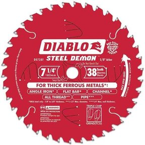 "D0738F Diablo Steel Demon Ferrous Cutting Blade, 7-1/4"" diameter, 5/8"" arbor, 38 teeth TCG"