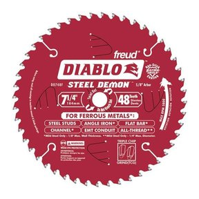 "D0748F Diablo Steel Demon Ferrous Cutting Blade, 7-1/4"" diameter, 5/8"" arbor, 48 teeth TCG"