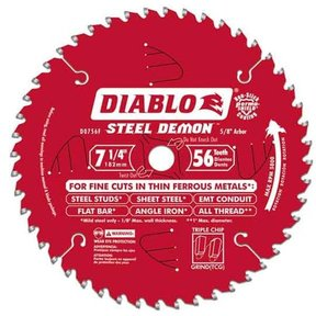 "D0756F Diablo Steel Demon Ferrous Cutting Blade, 7-1/4"" diameter, 5/8"" arbor, 56 teeth TCG"