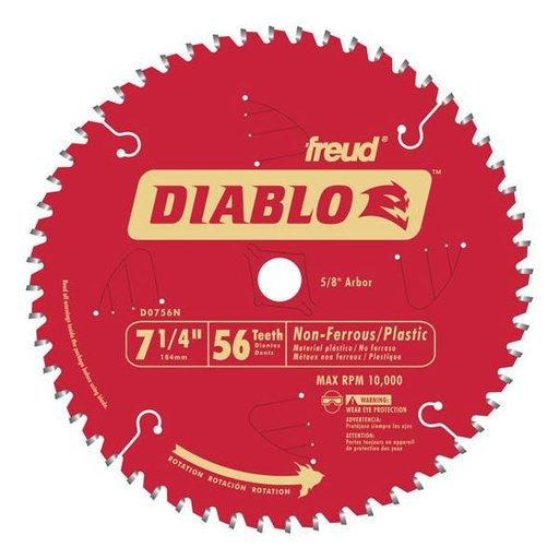 "View a Larger Image of D0756N Diablo Non-Ferrous Cutting Blade, 7-1/4"", 5/8"" arbor, 56 teeth TCG"
