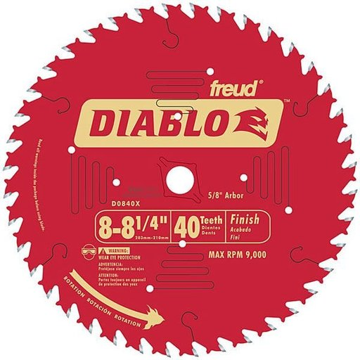"View a Larger Image of D0840X Diablo Finishing Blade, 8-1/4"" diameter, 5/8"" arbor, 40 teeth ATB"
