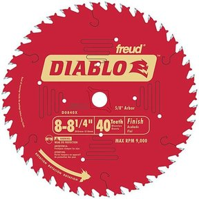 "D0840X Diablo Finishing Blade, 8-1/4"" diameter, 5/8"" arbor, 40 teeth ATB"