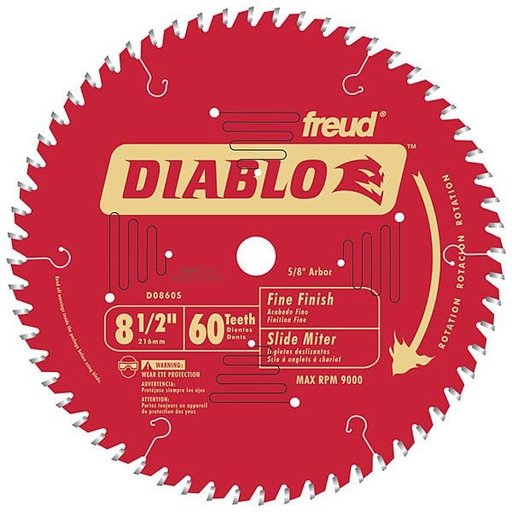 "View a Larger Image of D0860S Diablo Mitre/Sliding Miter Blade, 8-1/2"" diameter, 5/8"" arbor, 60 teeth ATB"