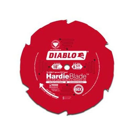 "View a Larger Image of D1006DH Diablo Hardie Blade, 10"" diameter, 5/8"" arbor, 6 teeth TCG (PCD)"