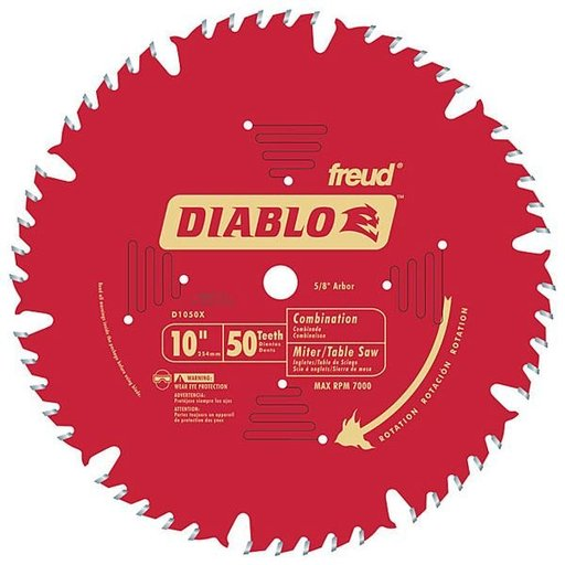 "View a Larger Image of D1050X Diablo Combination Blade, 10"" diameter, 5/8"" arbor, 50 teeth ATB"