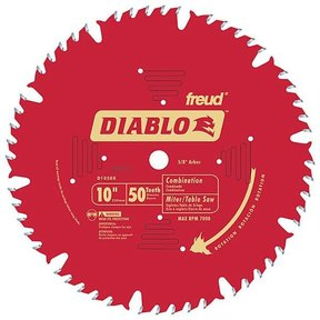 "D1050X Diablo Combination Blade, 10"" diameter, 5/8"" arbor, 50 teeth ATB"