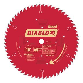 "D1060X Diablo Fine Finish Blade, 10"" diameter, 5/8"" arbor, 60 teeth Hi-ATB"