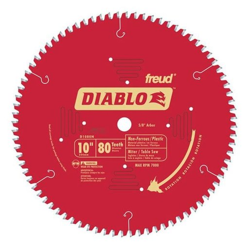 "View a Larger Image of D1080N Diablo Non-Ferrous/ Plastics Blade, 10"" diameter, 5/8"" arbor, 80 teeth TCG"
