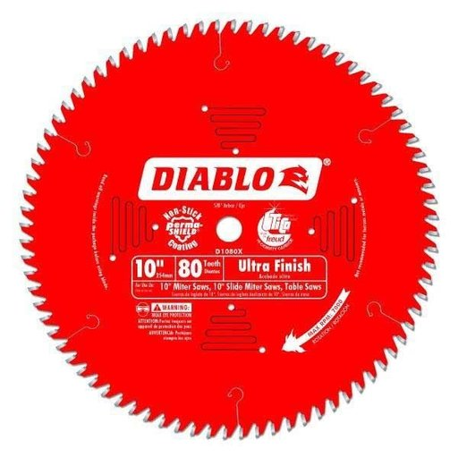 "View a Larger Image of D1080X Ultra Fine Finish Saw Blade, 10"" diameter, 5/8"" arbor, 80 teeth Hi-ATB"