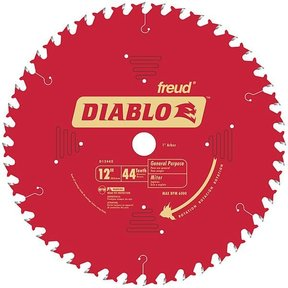 "D1244X Diablo General Purpose Blade, 12"" diameter, 1"" arbor, 44 teeth ATB"