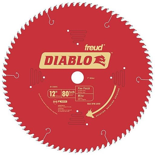 "View a Larger Image of D1280X Diablo Fine Finish Blade, 12"" diameter, 1"" arbor, 80 teeth Hi-ATB"
