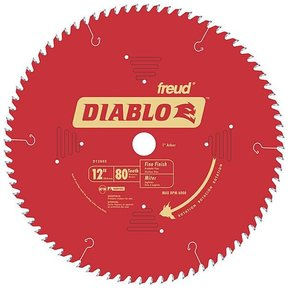 "D1280X Diablo Fine Finish Blade, 12"" diameter, 1"" arbor, 80 teeth Hi-ATB"