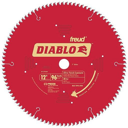 "View a Larger Image of D1296N Diablo Wood/Laminate/Non-Ferrous/Plastics Blade, 12"" diameter, 1"" arbor, 96 teeth TCG"