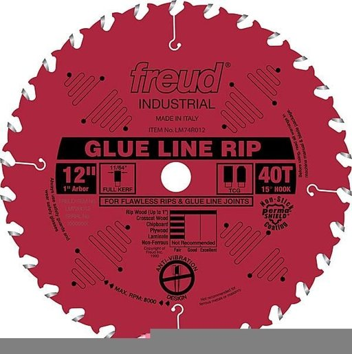 "View a Larger Image of LM74R012 Glue Line Rip Saw Blade 12"" x 1"" Bore X 40 Tooth Full Kerf"