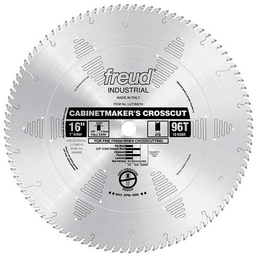 "View a Larger Image of LU73M016 Industrial Cabinetmaker's Crosscut Wood Blade, 16"" diameter, 1"" arbor, 96 teeth ATB"