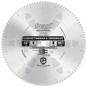 "LU73M016 Industrial Cabinetmaker's Crosscut Wood Blade, 16"" diameter, 1"" arbor, 96 teeth ATB"