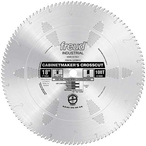 "View a Larger Image of LU73M018 Industrial Cabinetmaker's Crosscut Wood Blade, 18"" diameter, 1"" arbor, 108 teeth ATB"