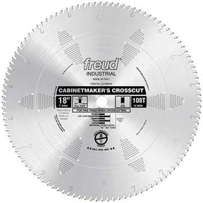 "LU73M018 Industrial Cabinetmaker's Crosscut Wood Blade, 18"" diameter, 1"" arbor, 108 teeth ATB"
