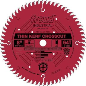 "LU74R008 Industrial Thin Kerf Ultimate Cut-Off Wood Blade with Red Perma-Shield, 8"" diameter,"