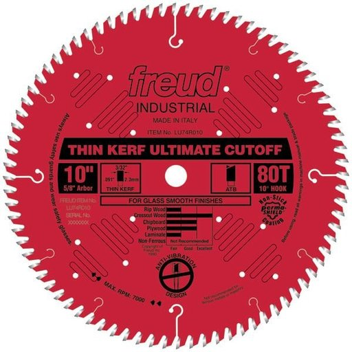 """View a Larger Image of LU74R010 Thin Kerf Ultimate Cut-Off Blade 10"""" x 5/8"""" Bore x 80 Tooth ATB Thin Kerf"""