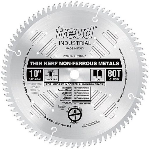 "View a Larger Image of LU77M010 Industrial Thin Kerf Non-Ferrous Blade, 10"" diameter, 1/4"" max thick, 5/8"" arbor, 80"