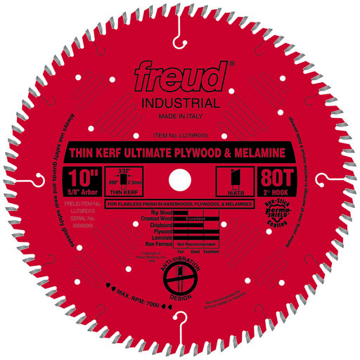 "View a Larger Image of LU79R010 Circular Saw Plywood/Melamine Saw Blade 10"" x 5/8"" Bore x 80 Tooth Hi-ATB Thin Kerf"