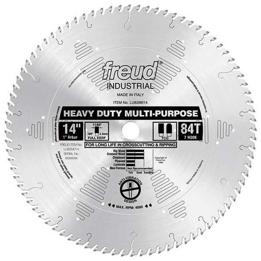 "View a Larger Image of LU82M014 Industrial Heavy Duty Multi-Purpose Blade, 14"" diameter, 1"" arbor, 84 teeth TCG"
