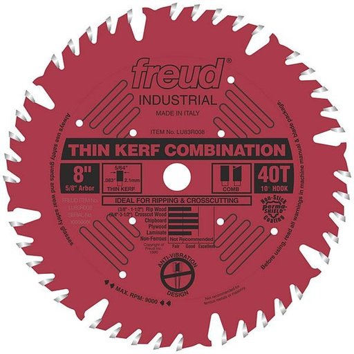 "View a Larger Image of LU83R008 Industrial Thin Kerf Combination Blade with Red Perma-Shield, 8"" diameter, 5/8"" arbor"