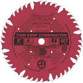 "LU83R008 Industrial Thin Kerf Combination Blade with Red Perma-Shield, 8"" diameter, 5/8"" arbor"